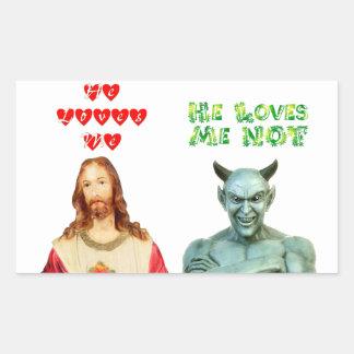 Jesus Loves Me satan loves me not Rectangle Stickers