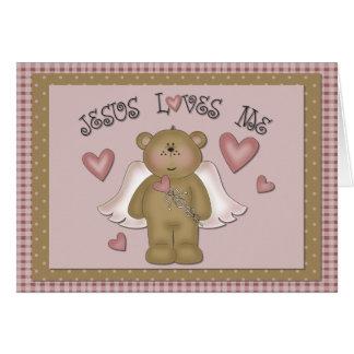 Jesus Loves Me Teddy Bear Angel Greeting Card