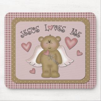 Jesus Loves Me Teddy Bear Angel Mousepad