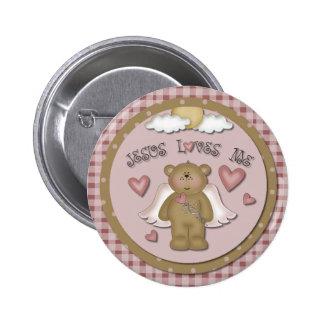 Jesus Loves Me Teddy Bear Angel Round Button