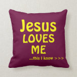 Jesus Loves Me This I Know Song Faith Text Pillow