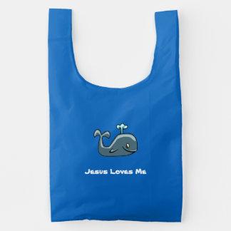 Jesus Loves Me Whale Reusable Bag