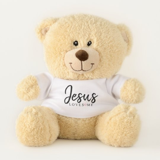 Jesus Loves Me With Red Heart Small Teddy Bear Zazzle Com