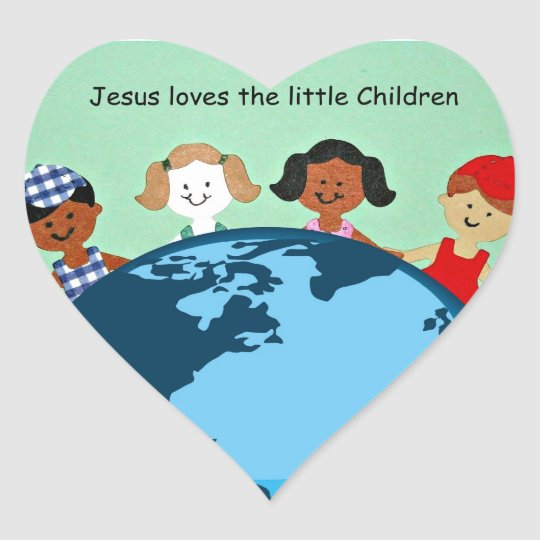Jesus loves the little children. heart sticker