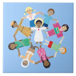 Jesus loves the little children large square tile