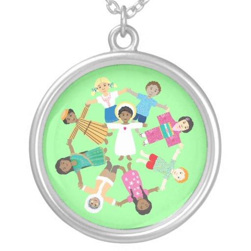 Jesus loves the little children round pendant necklace