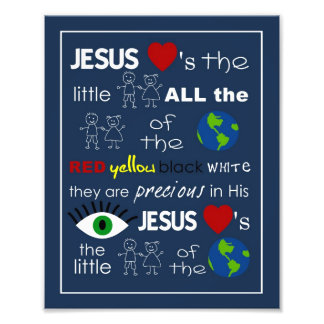 Jesus Loves the Little Children Nursery Art Photo Print