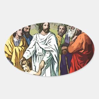 Jesus Loves The Little Children Oval Sticker