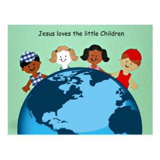 Jesus loves the little children. postcard