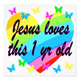 JESUS LOVES THIS 1 YEAR OLD BIRTHDAY DESIGN PHOTO PRINT
