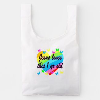 JESUS LOVES THIS 1 YEAR OLD BIRTHDAY DESIGN REUSABLE BAG