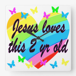 JESUS LOVES THIS 2 YR OLD 2ND BIRTHDAY DESIGN SQUARE WALL CLOCK