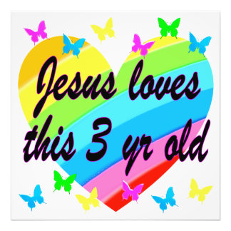 JESUS LOVES THIS 3 YR OLD BIRTHDAY DESIGN PHOTO PRINT