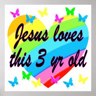 JESUS LOVES THIS 3 YR OLD BIRTHDAY DESIGN POSTER
