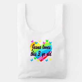 JESUS LOVES THIS 3 YR OLD BIRTHDAY DESIGN REUSABLE BAG