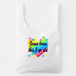 JESUS LOVES THIS 5 YR OLD 5TH BIRTHDAY BLESSING REUSABLE BAG