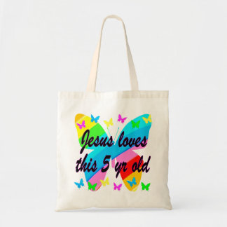 JESUS LOVES THIS 5 YR OLD BUTTERFLY DESIGN TOTE BAG