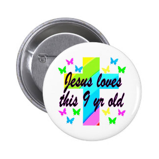 JESUS LOVES THIS 9 YR OLD BIRTHDAY CHRISTIAN GIRL PINBACK BUTTON