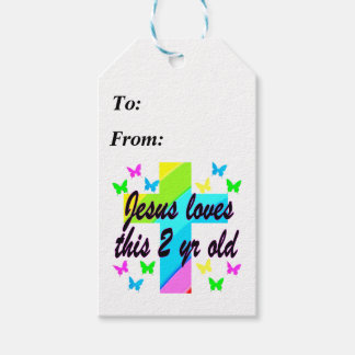 JESUS LOVES THIS CHRISTIAN 2 YEAR OLD PRAYER GIFT TAGS