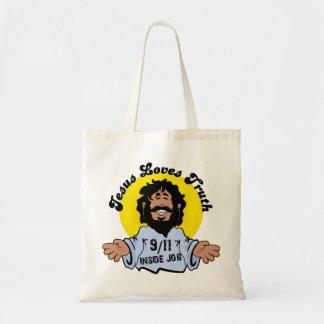 Jesus Loves Truth 9-11 Inside Job Funny Tote Bag