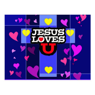Jesus Loves U Postcard