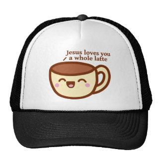 Jesus loves you a whole latte trucker hat