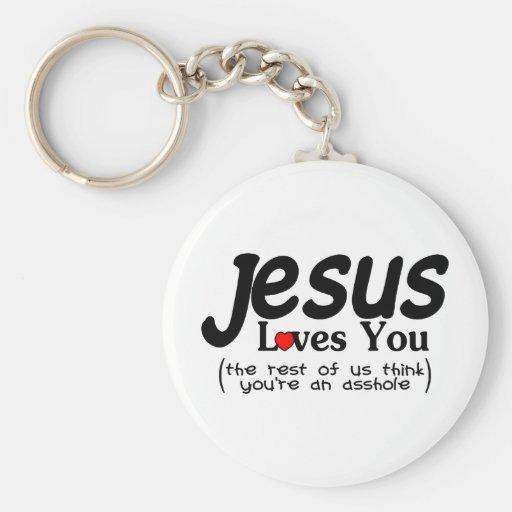 Jesus Loves You Basic Round Button Keychain