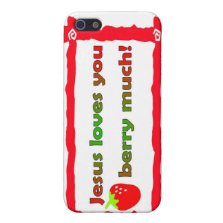 Jesus loves you berry much, strawberry iPhone SE/5/5s cover