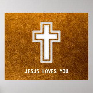 JESUS LOVES YOU  - Christian Gold Poster