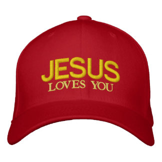 JESUS LOVES YOU EMBROIDERED BASEBALL CAP