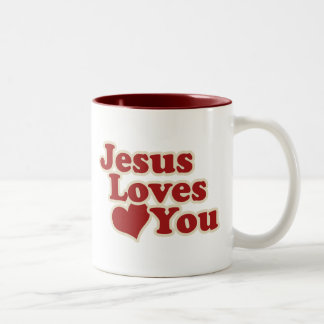 Jesus Loves you for Christians Two-Tone Coffee Mug