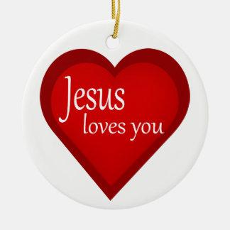 Jesus Loves You Heart Affirmative Ornament