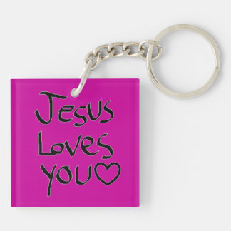 Jesus Loves You Double-Sided Square Acrylic Keychain