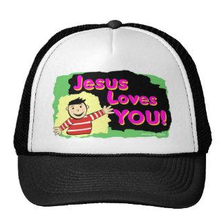 Jesus loves you little boy religious gift design trucker hat