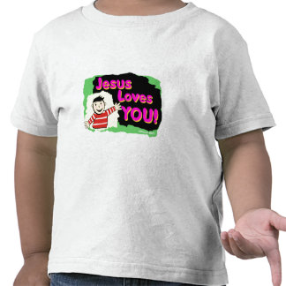 Jesus loves you little boy religious gift design tee shirts