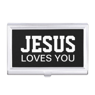 Loves You Motivational Typography Business Card Case
