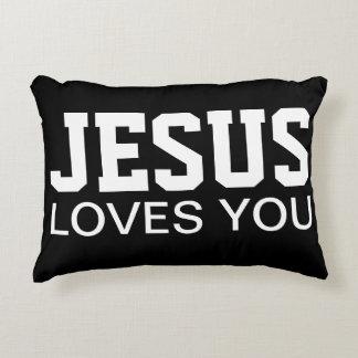 Jesus Loves You Motivational Typography Decorative Pillow