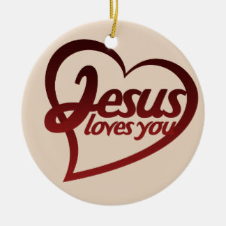 Jesus Loves you Double-Sided Ceramic Round Christmas Ornament