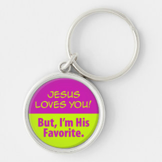 Jesus Loves You! Silver-Colored Round Keychain
