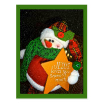 Jesus Loves You Snow Much! Christian Snowman Postcard