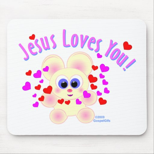 Jesus loves you teddy bear design mouse pads
