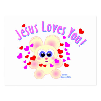 Jesus loves you teddy bear design postcard
