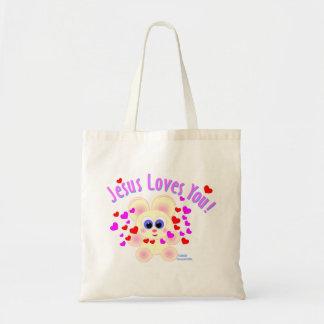 Jesus loves you teddy bear design tote bag