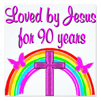 JESUS LOVING 90TH BIRTHDAY CARD