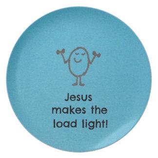 Jesus makes the load light. dinner plate