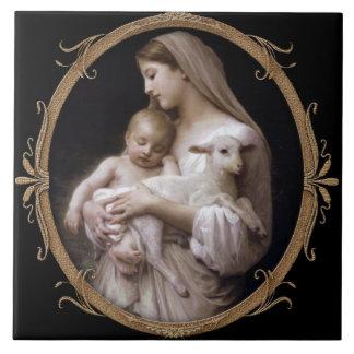 JESÚS, MARIA Y EL CORDERO AZULEJO CUADRADO GRANDE