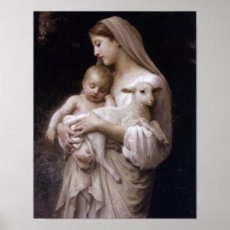 JESÚS, MARIA Y EL CORDERO PÓSTER