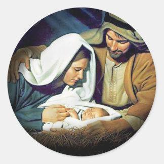Jesús, Maria y José Pegatina Redonda