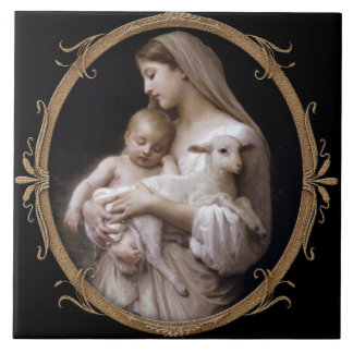 JESUS, MARY AND THE LAMB. CERAMIC TILE