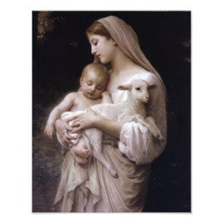 JESUS, MARY AND THE LAMB. PHOTO PRINT